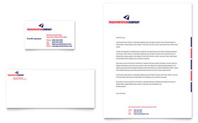 Transportation Company - Business Card & Letterhead Template Design Sample