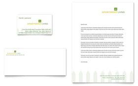 Apartment Living - Business Card & Letterhead Template Design Sample