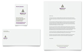 Realty Services - Business Card & Letterhead Template Design Sample