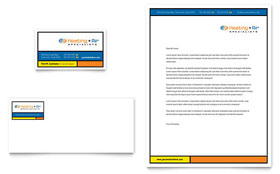Heating & Air Conditioning - Business Card & Letterhead Template Design Sample