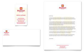Electrical Services - Business Card & Letterhead Template Design Sample