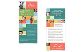 Non Profit Association for Children - Rack Card Template Design Sample
