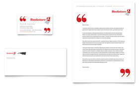 Bookstore & Library - Business Card & Letterhead Template Design Sample