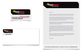 Auto Repair - Business Card & Letterhead Template Design Sample