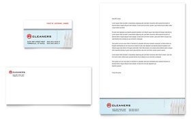 Laundry & Dry Cleaners - Business Card & Letterhead Template Design Sample