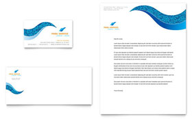 Swimming Pool Cleaning Service - Business Card & Letterhead Template Design Sample