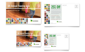 Carpet & Hardwood Flooring - Postcard Template Design Sample
