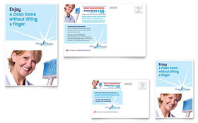 House Cleaning & Housekeeping - Postcard Template Design Sample