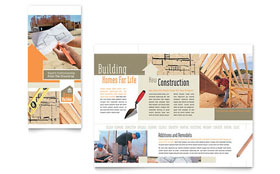 Home Building Carpentry - Tri Fold Brochure Sample Template