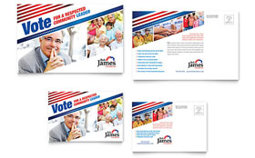 Political Campaign - Postcard Template Design Sample