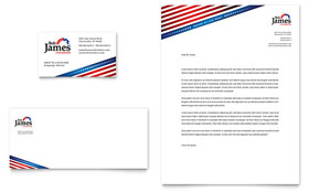 Political Campaign - Business Card & Letterhead Template Design Sample