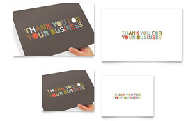 Thank You for Your Business - Note Card Template Design Sample