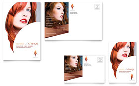 Hair Stylist & Salon - Postcard Template Design Sample