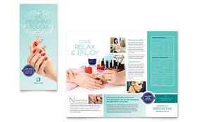 Nail Technician - Tri Fold Brochure Template Design Sample