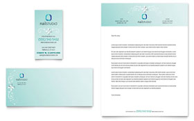 Nail Technician - Business Card & Letterhead Template Design Sample