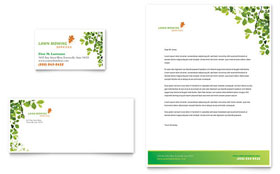 Lawn Mowing Service - Business Card & Letterhead Template Design Sample