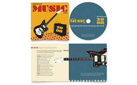 Live Music Festival Event - CD Booklet Template Design Sample