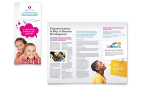 Speech Therapy Education - Apple iWork Pages Tri Fold Brochure Template
