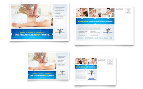 Reflexology & Massage - Postcard Template Design Sample