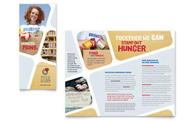 Food Bank Volunteer - Tri Fold Brochure Template Design Sample