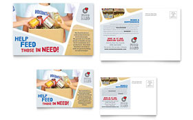 Food Bank Volunteer - Postcard Template Design Sample