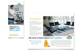 Janitorial & Office Cleaning - QuarkXPress Tri Fold Brochure Template