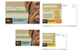 Animal Shelter & Pet Adoption - Postcard Template Design Sample