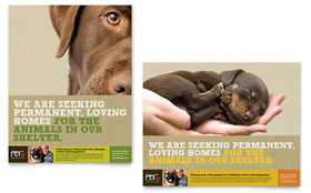 Animal Shelter & Pet Adoption - Poster Template Design Sample