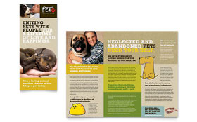 Animal Shelter & Pet Adoption - Tri Fold Brochure Template Design Sample