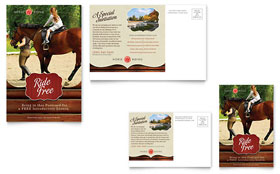Horse Riding Stables & Camp - Postcard Template Design Sample