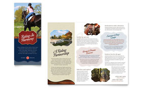Horse Riding Stables & Camp - Apple iWork Pages Tri Fold Brochure Template