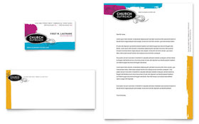 Church Outreach Ministries - Business Card & Letterhead Template Design Sample