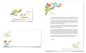 Flower Shop - Business Card & Letterhead Template Design Sample