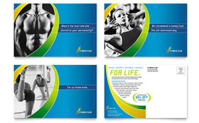 Sports & Health Club - Postcard Template Design Sample