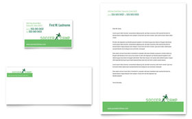Soccer Sports Camp - Business Card & Letterhead Template Design Sample