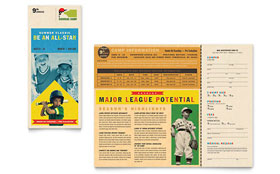 Baseball Sports Camp - Brochure Template Design Sample