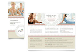Pilates & Yoga - Microsoft Publisher Tri Fold Brochure Template