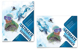 Ski & Snowboard Instructor - Poster Template Design Sample