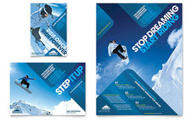 Ski & Snowboard Instructor - Flyer & Ad Template Design Sample