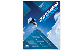 Ski & Snowboard Instructor - Flyer Sample Template