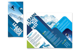 Ski & Snowboard Instructor - Apple iWork Pages Tri Fold Brochure Template