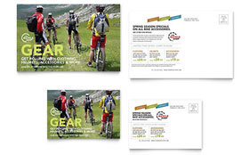 Bike Rentals & Mountain Biking - Postcard Template Design Sample
