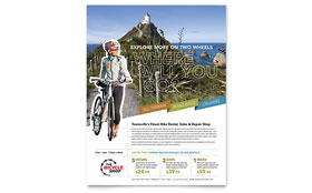 Bike Rentals & Mountain Biking - Flyer Template Design Sample