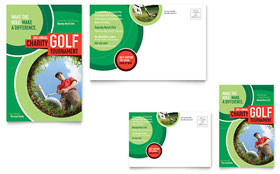 Golf Tournament - Postcard Template Design Sample