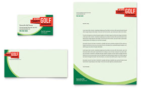 Golf Tournament - Business Card & Letterhead Template Design Sample