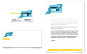 Charity Run - Business Card & Letterhead Template Design Sample
