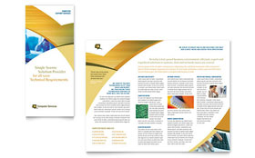 Computer Services & Consulting - Tri Fold Brochure Template Design Sample
