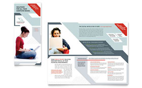 Computer Solutions - Tri Fold Brochure Template Design Sample