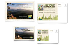 Nature Camping & Hiking - Postcard Template Design Sample