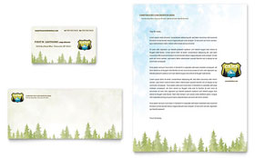Nature Camping & Hiking - Business Card & Letterhead Template Design Sample